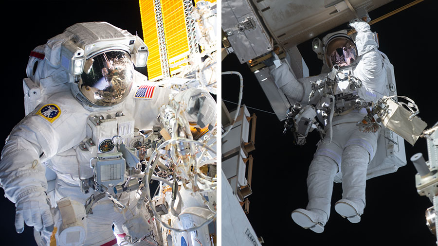 Astronauts (from left) Kate Rubins and Victor Glover are pictured during previous spacewalks on the space station.