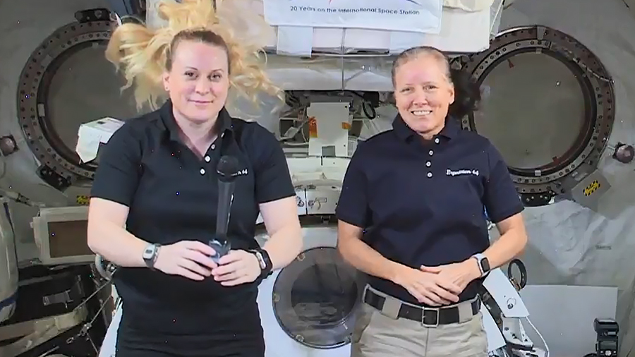 Expedition 64 Flight Engineers (from left) Kate Rubins and Shannon Walker called down to the Centers for Disease Control and talked about science on the space station. Credit: NASA TV