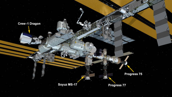 Feb. 17, 2021: International Space Station Configuration. Four spaceships are docked at the space station including the SpaceX Crew Dragon and Russia's Progress 75 and 77 resupply ships and the Soyuz MS-17 crew ship.