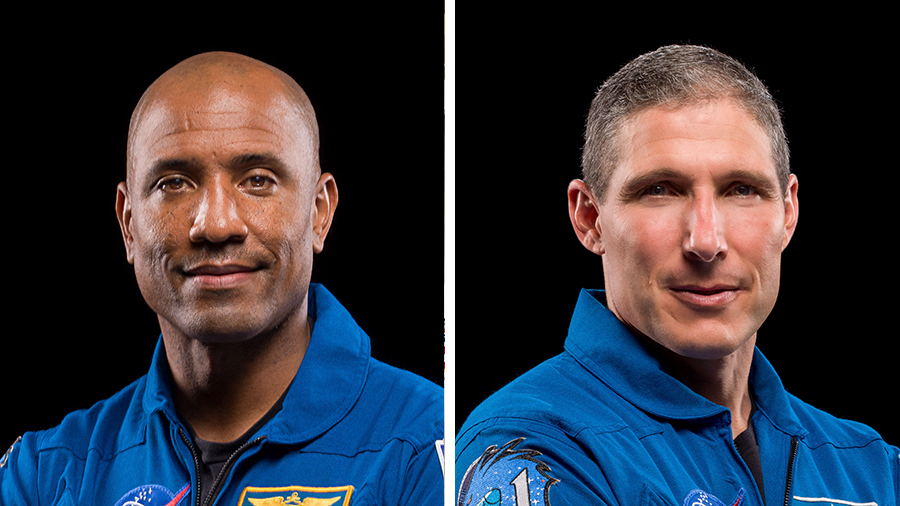 NASA astronauts (from left) Victor Glover and Michael Hopkins will conduct their third spacewalk together on Saturday morning.