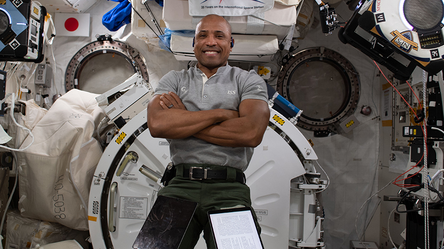Expedition 64 Flight Engineer Victor Glover of NASA poses for a portrait inside the International Space Station's Kibo laboratory module.