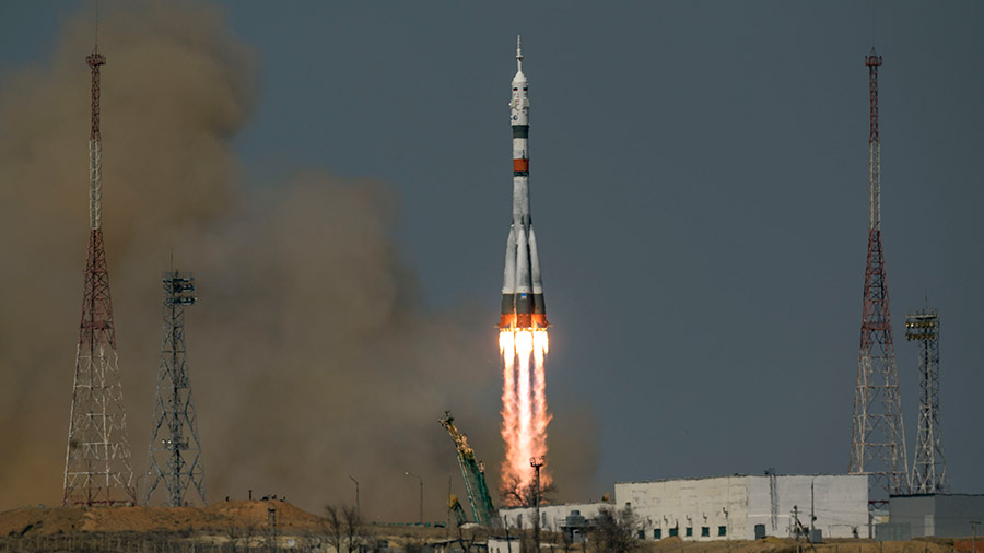 The Soyuz MS-18 rocket blasts off from the Baikonur Cosmodrome in Kazakhstan carrying three Expedition 65 crew members to the space station. Credit: NASA TV