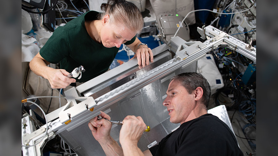 NASA Flight Engineers Shannon Walker and Michael Hopkins install temporary sleeping quarters inside the Columbus laboratory module from the European Space Agency.