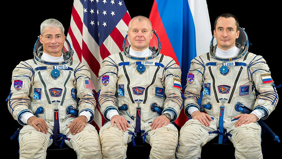 Expedition 65 crew members (from left) Mark Vande Hei, Oleg Novitskiy and Pyotr Dubrov pose for a portrait at the Gagarin Cosmonaut Training Center in Russia.