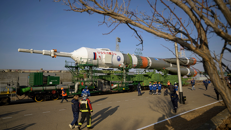 The Soyuz MS-18 rocket, that will launch the Expedition 65 crew to the space station on April 9, is rolled out to the launch pad in Kazakhstan. Credit: NASA/Bill Ingalls