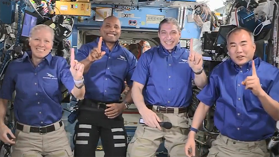 The Space Crew-1 astronauts (from left) Shannon Walker, Victor GLover, Michael Hopkins and Soichi Noguchi, gathered for a news conference on Monday ahead their planned homecoming this week. Credit: NASA TV