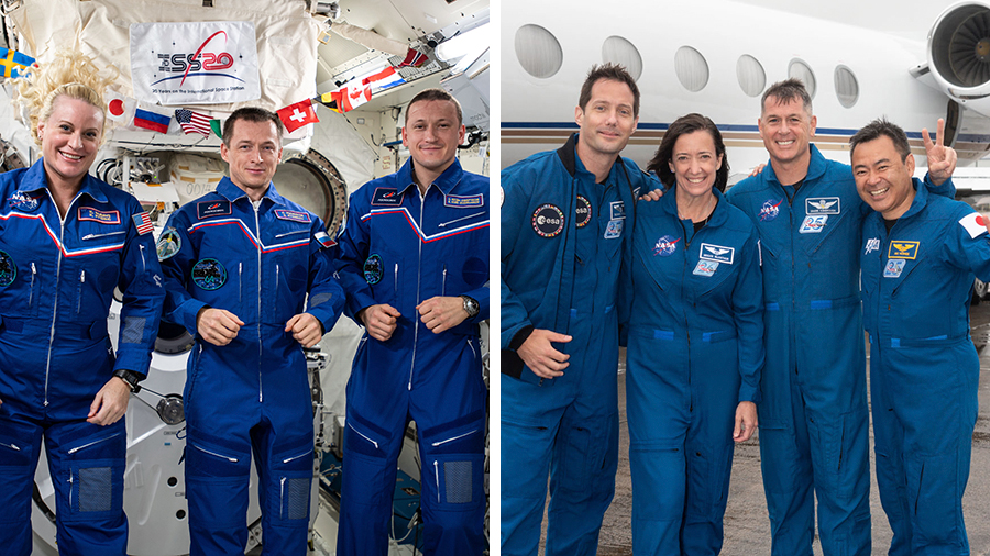 (From left) The Expedition 64 crew is returning to Earth today as the SpaceX Crew-2 astronauts prepare for an April 22 launch to the station from Florida.