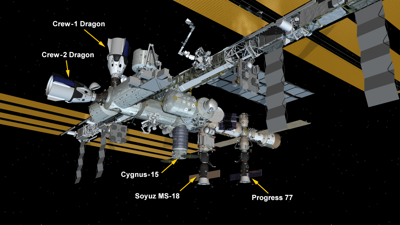 Currently, five spaceships are attached to the space station including two SpaceX Crew Dragon vehicles, the Northrop Grumman Cygnus cargo craft, and Russia's 77 resupply ship and Soyuz MS-18 crew ship. The Crew-1 Endeavour spaceship will undock today.