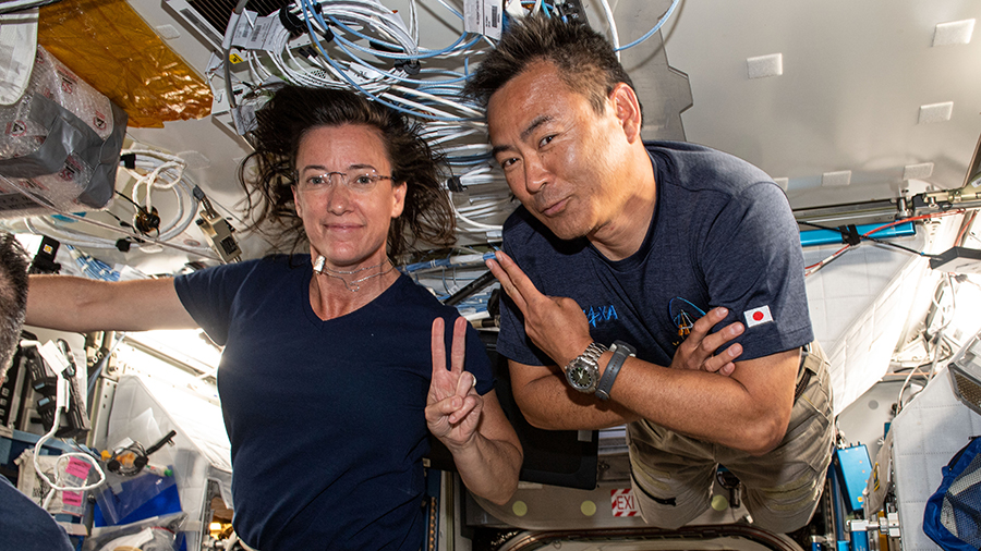 SpaceX Crew-2 Mission Specialists and Expedition 65 Flight Engineers Megan McArthur and Akihiko Hoshide pose for a portrait together.