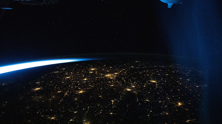 An orbital twilight fades over the city lights of Europe as the space station soared above southern France.