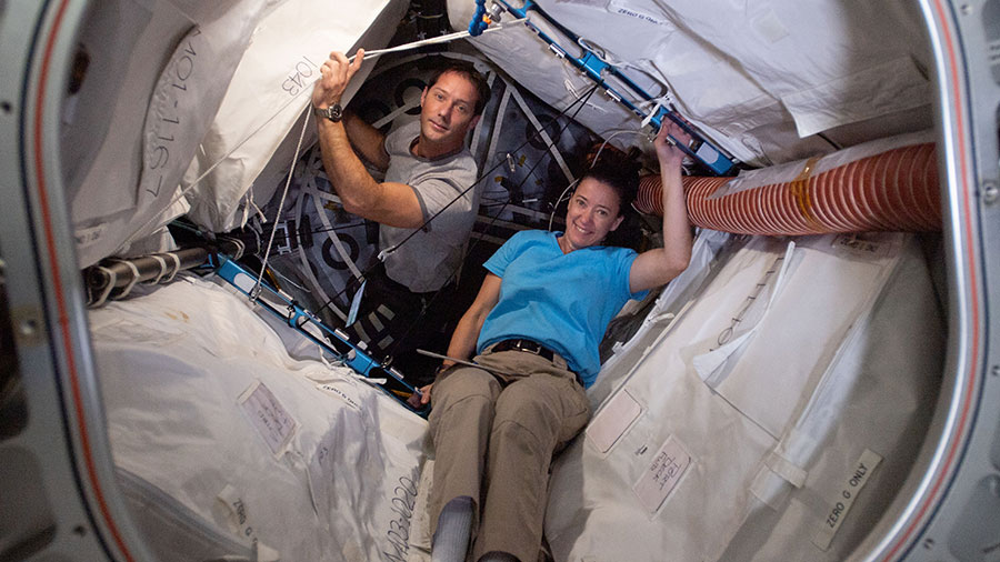 Astronauts Thomas Pesquet and Megan McArthur are pictured inside BEAM, the Bigelow Expandable Activity Module.