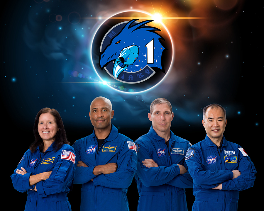 The SpaceX Crew-1 official crew portrait with (from left) NASA astronauts Shannon Walker, Victor Glover, Mike Hopkins, and JAXA (Japan Aerospace Exploration Agency) astronaut Soichi Noguchi.