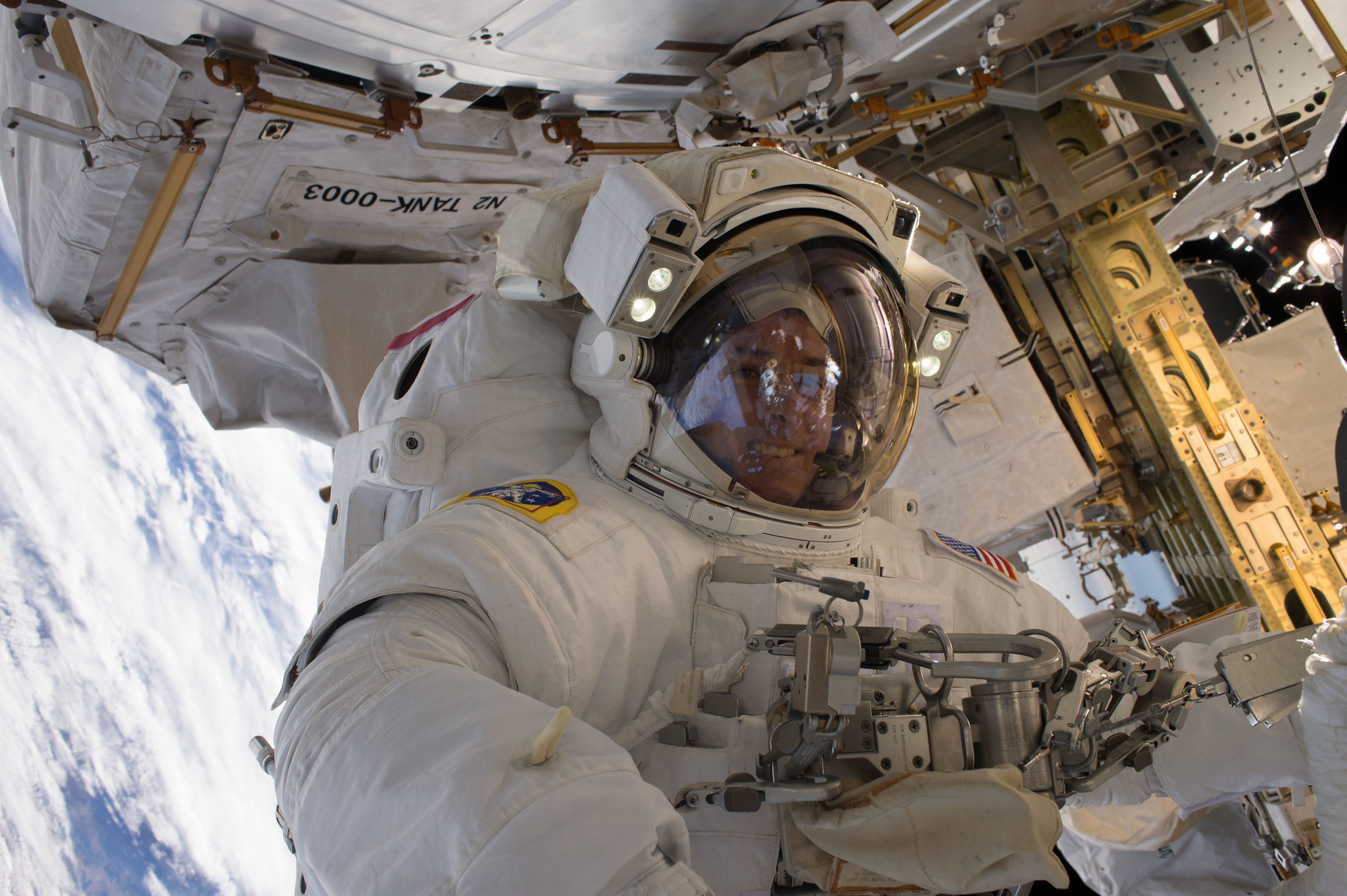 NASA astronaut Shane Kimbrough photographed during a spacewalk in January 2017.