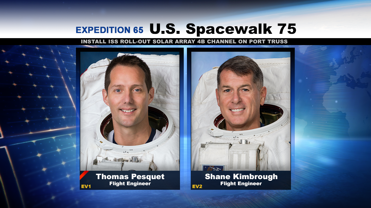 Spacewalkers (from left) Thomas Pesquet and Shane Kimbrough will work to deploy the first new ISS Roll-Out Solar Array (iROSA) to upgrade the station's power supply.
