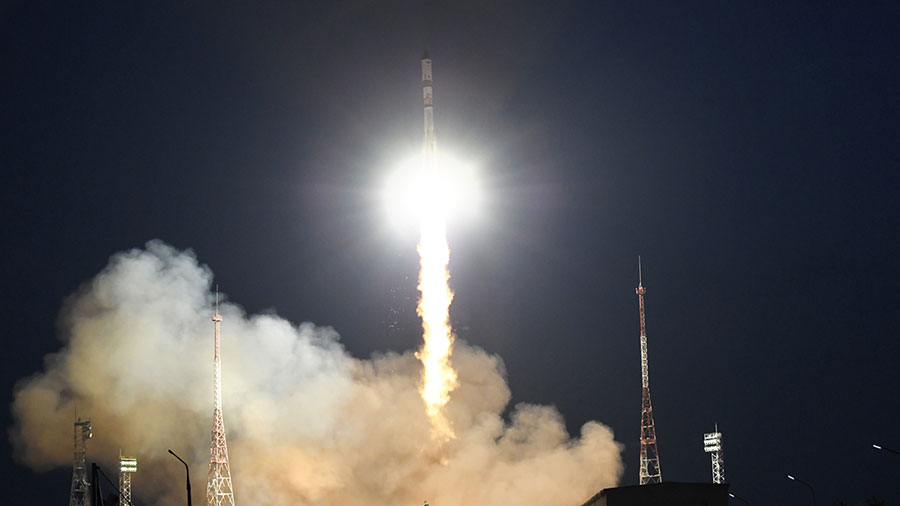 Russia's ISS Progress 78 resupply ship launches from the Baikonur Cosmodrome in Kazakhstan to the space station. Credit: Roscosmos