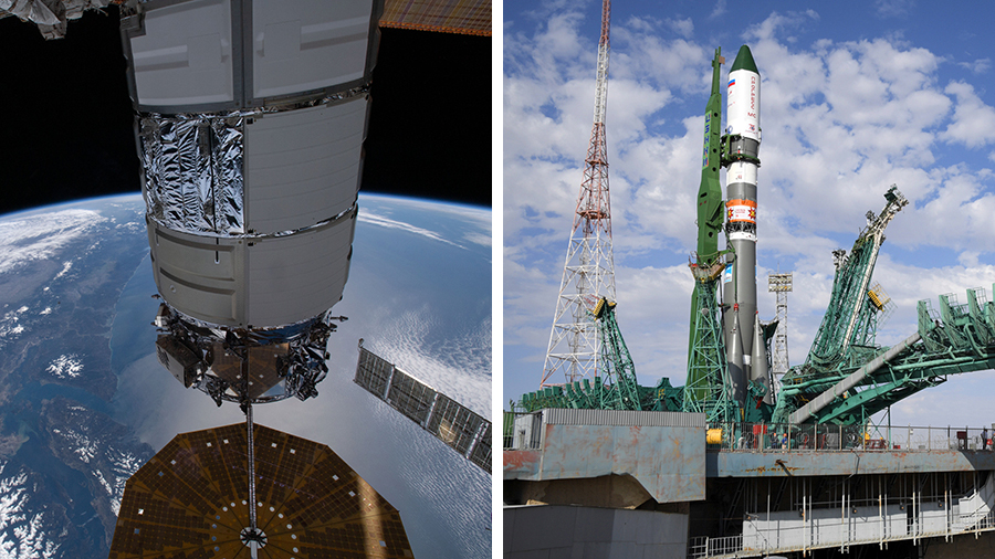(From left) The Northrop Grumman Cygnus resupply ship and Russia's ISS Progress 78 cargo craft will depart and launch just hours apart on Tuesday.