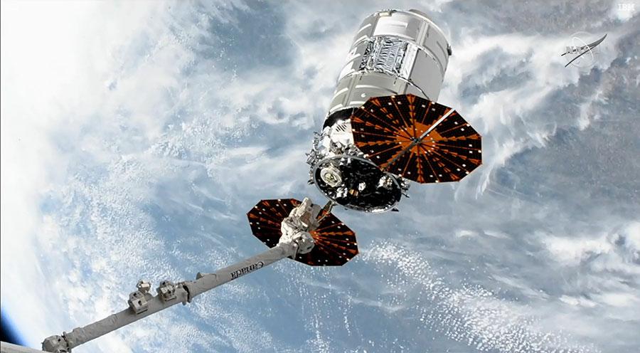 Partida de la cápsula Cygnus desde la ISS.