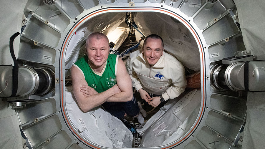 Roscosmos cosmonauts (from left) Oleg Novitskiy and Pyotr Dubrov are pictured inside BEAM, the Bigelow Expandable Activity Module.