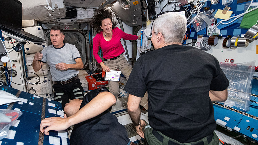 Expedition 65 astronauts (clockwise from left) Shane Kimbrough, Megan McArthur, Mark Vande Hei and Akihiko Hoshide are pictured inside the Harmony module.