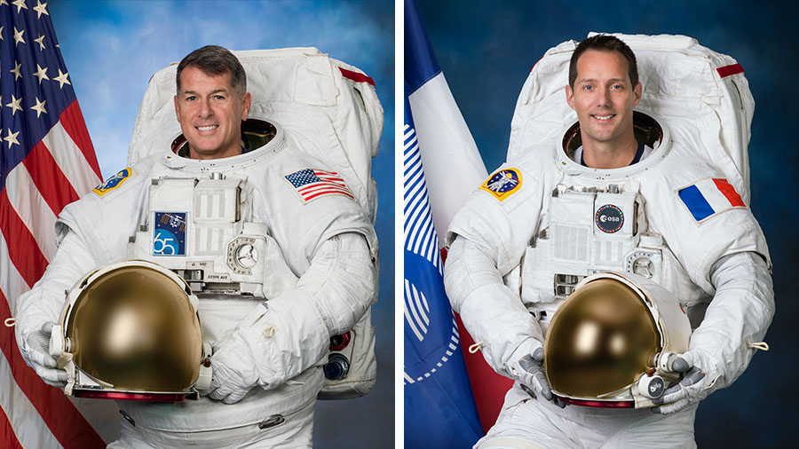 NASA astronauts Shane Kimbrough (left) and ESA astronaut Thomas Pesquet (right) are conducting their third spacewalk together.
