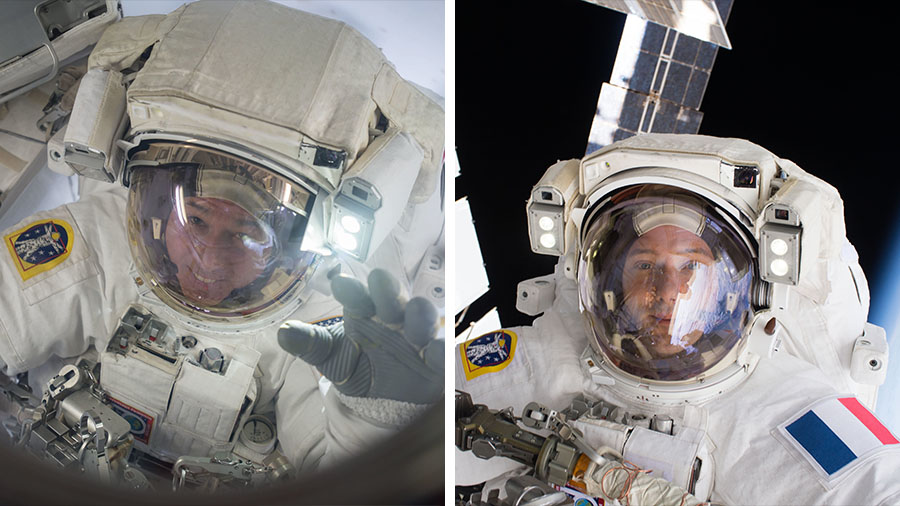 NASA astronauts Shane Kimbrough (left) and ESA astronaut Thomas Pesquet (right) are today's spacewalkers.