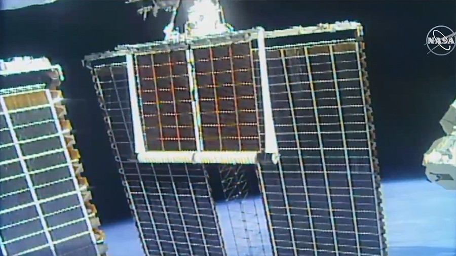 The 60-foot-long roll out solar arrays were successfully deployed over the United States in a process that took about 6 minutes.