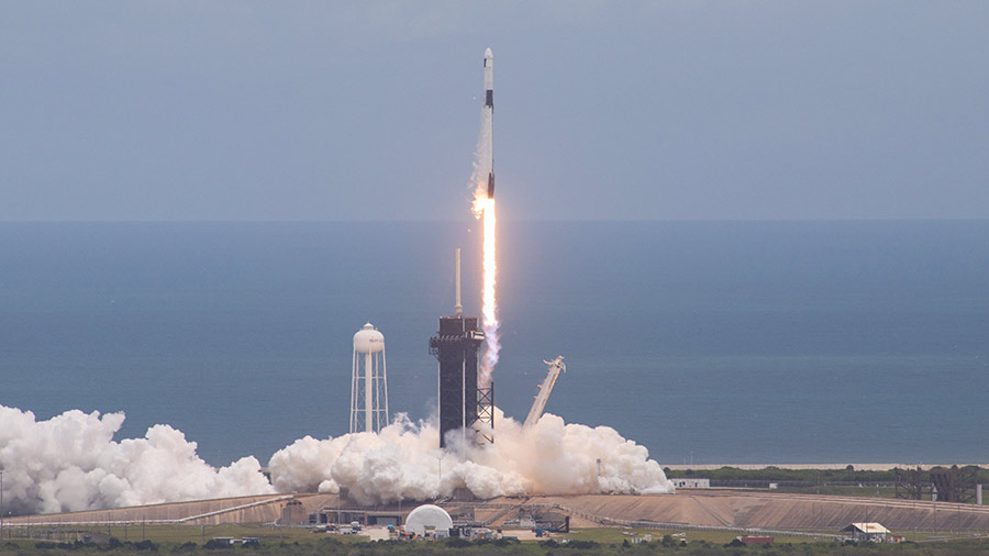 The SpaceX Falcon 9 rocket blasts off with the Cargo Dragon resupply ship from the Kennedy Space Center on June 3, 2021. Credit: NASA/Kim Shiflett