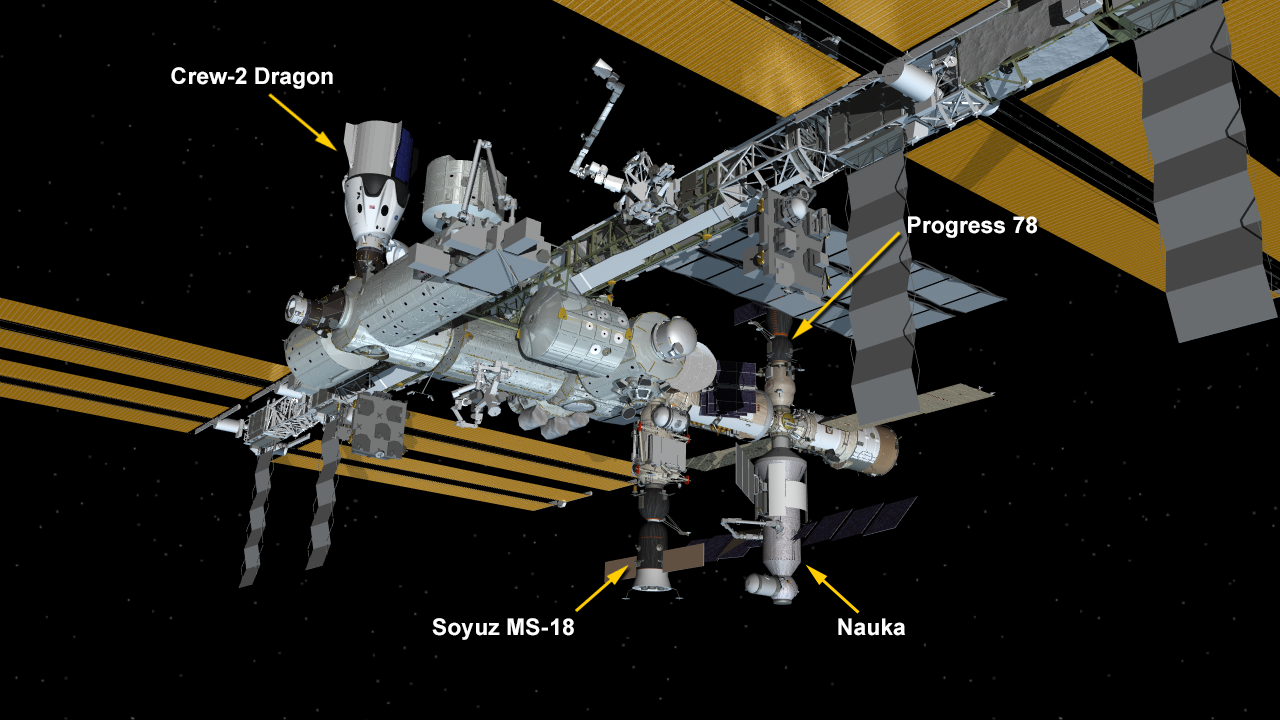July 29, 2021: International Space Station Configuration. Three spaceships are docked at the space station including the SpaceX Crew Dragon and Russia's Soyuz MS-18 crew ship and ISS Progress 78 resupply ship. The new Nauka Multipurpose Logistics Module (MLM) is now attached to the Zvezda service module's Earth-facing port.