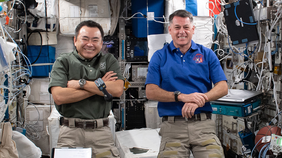 Expedition 65 astronauts (from left) Akihiko Hoshide and Shane Kimbrough talked to elementary school students from New York City on June 9.