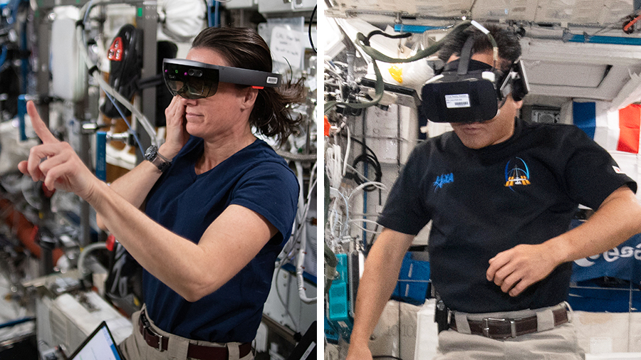 Flight Engineer Megan McArthur is wearing the Sidekick headset to test using augmented reality on the station. Commander Akihiko Hoshide is wearing virtual reality goggles for the Time Perception experiment.