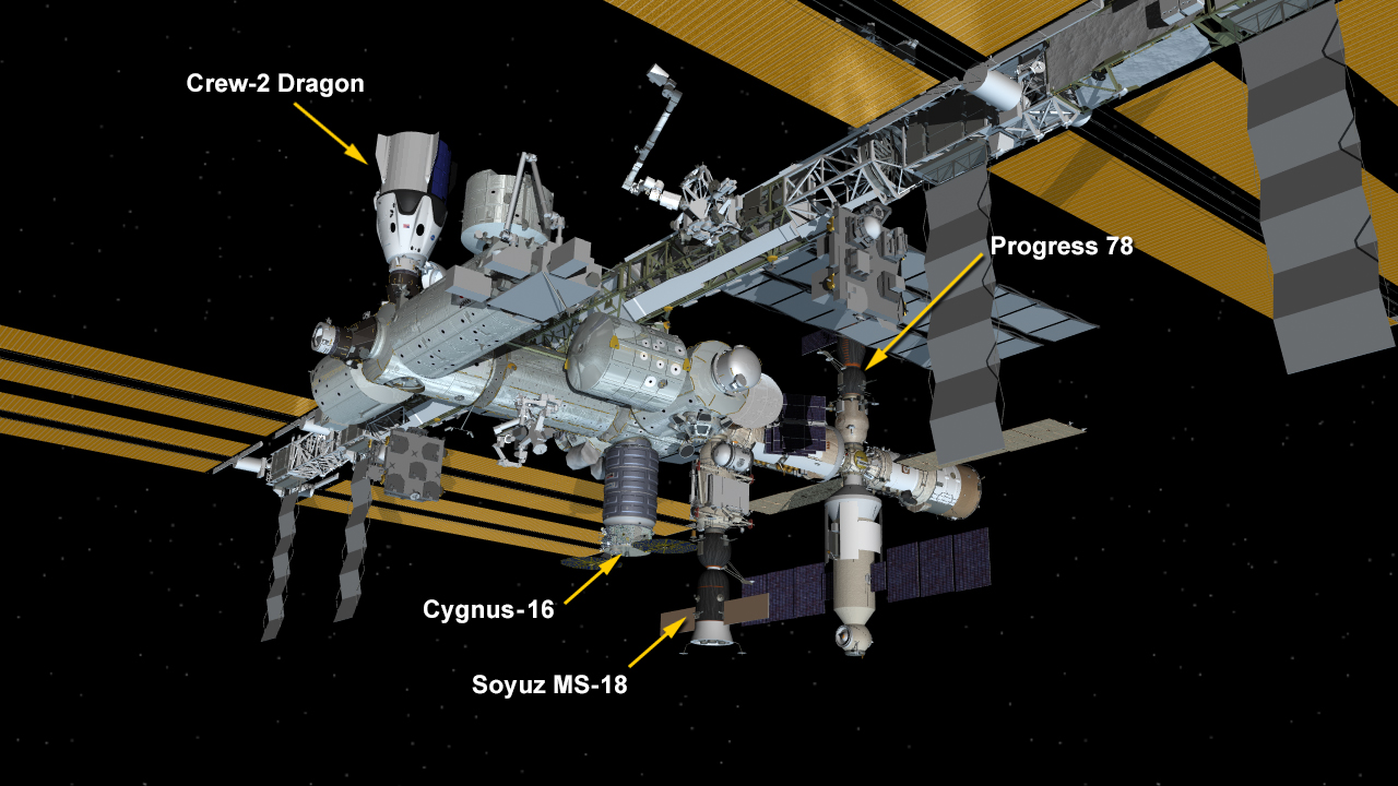 Aug. 12, 2021: International Space Station Configuration. Four spaceships are parked at the space station including Northrop Grumman's Cygnus space freighter, the SpaceX Crew Dragon and Russia's Soyuz MS-18 crew ship and ISS Progress 78 resupply ship.