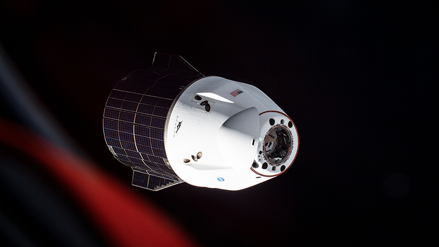 The SpaceX Cargo Dragon resupply ship is photographed departing the space station on July 8, 2021.