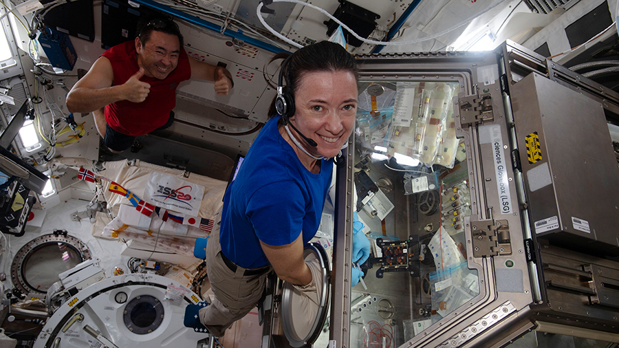 Astronaut Megan McArthur works on a muscle study in the Kibo laboratory module as station Commander Akihiko Hoshide poses behind her.