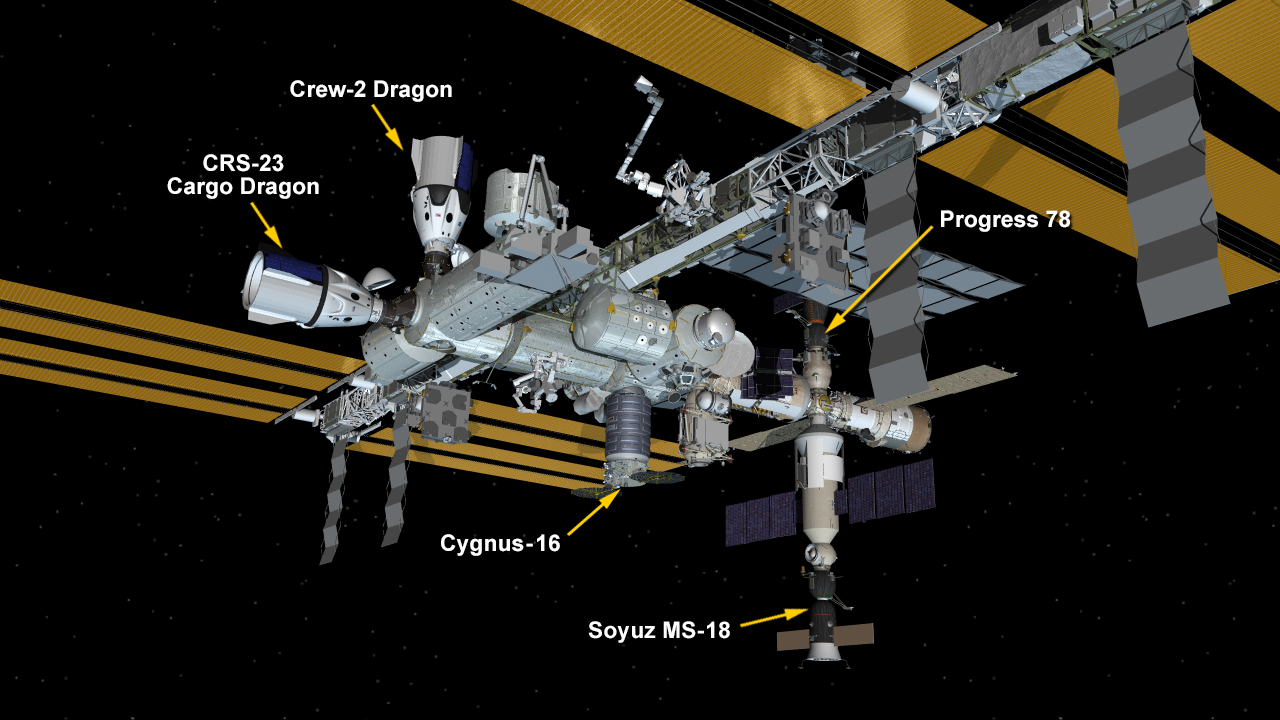 The International Space Station configuration as of Sept. 28, 2021 with the Soyuz MS-18 crew ship docked to the Nauka multipurpose laboratory module.