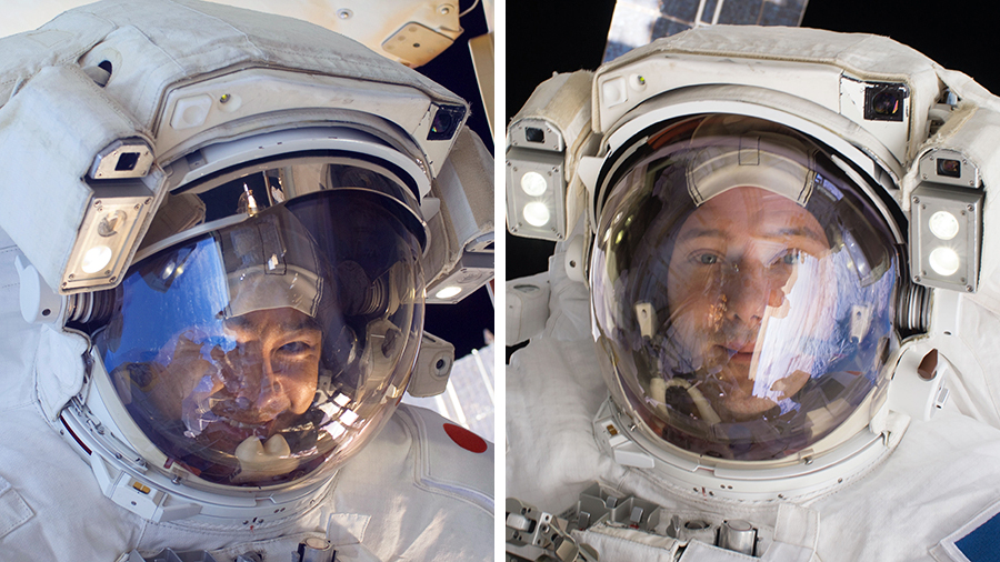 Astronauts (from left) Akihiko Hoshide and Thomas Pesquet are pictured outside of the space station with their U.S. spacesuit helmet visors up during earlier spacewalks.