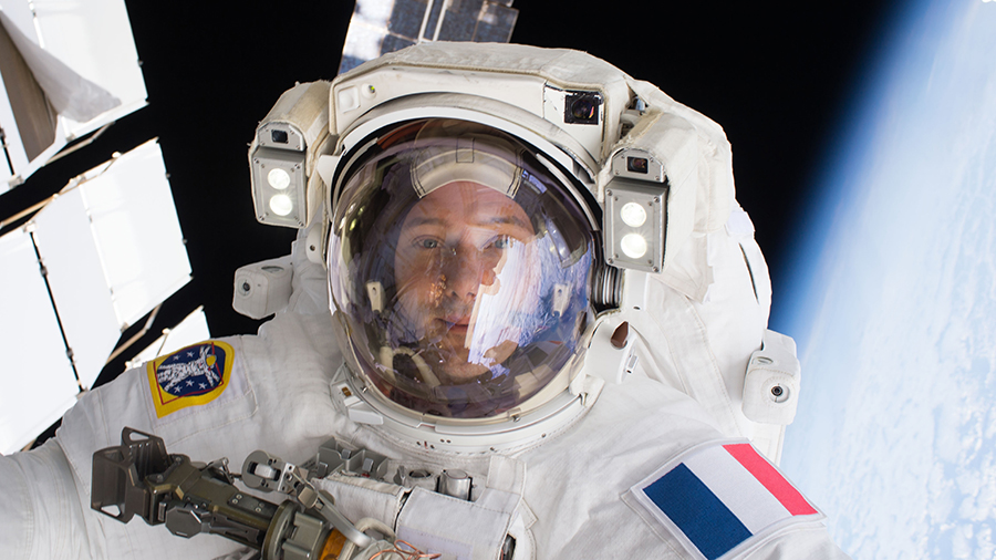 ESA (European Space Agency) astronaut Thomas Pesquet is pictured during a spacewalk in January 2017 when he was an Expedition 50 flight engineer.