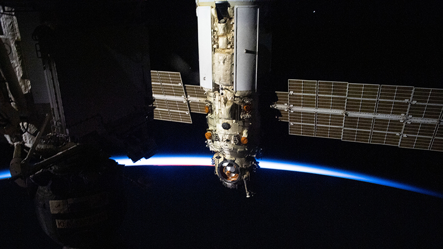 Russia's Nauka multipurpose laboratory module is pictured as the station orbited into a sunset above the southern Indian Ocean.