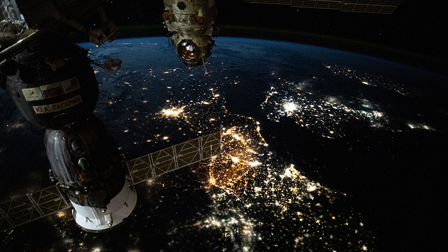 The prominent city lights of Europe from Amsterdam to Paris and London across the English Channel are pictured from the space station.