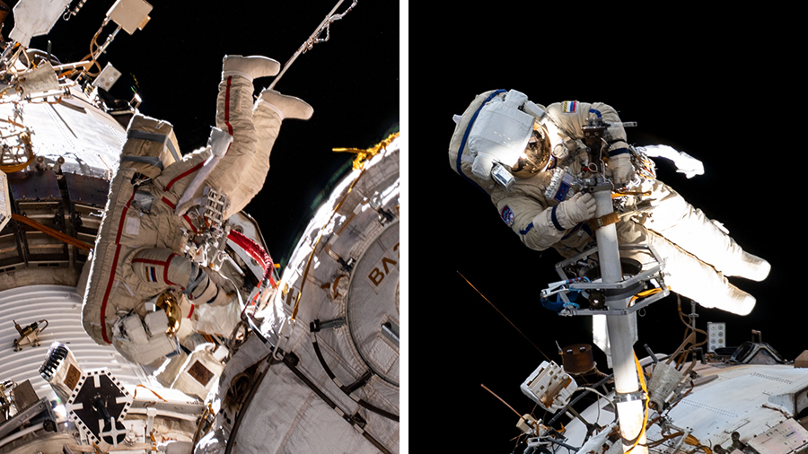 Cosmonauts (from left) Oleg Novitskiy and Pyotr Dubrov are conducting their second spacewalk together.
