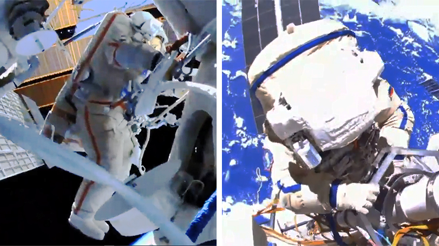 Russian spacewalkers (from left) Oleg Novitskiy and Pyotr Dubrov work over 250 miles above the Earth to configure the Nauka multipurpose laboratory for science operations. Credit: NASA TV