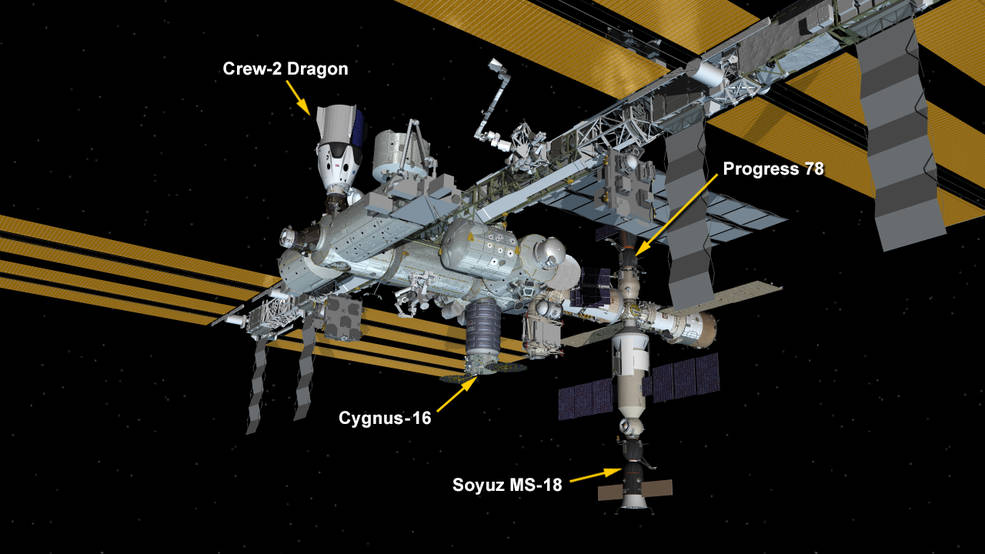 Sept. 30, 2021: International Space Station Configuration. Four spaceships are parked at the space station including Northrop Grumman's Cygnus space freighter; the SpaceX Crew Dragon vehicle; and Russia's Soyuz MS-18 crew ship and ISS Progress 78 resupply ship.