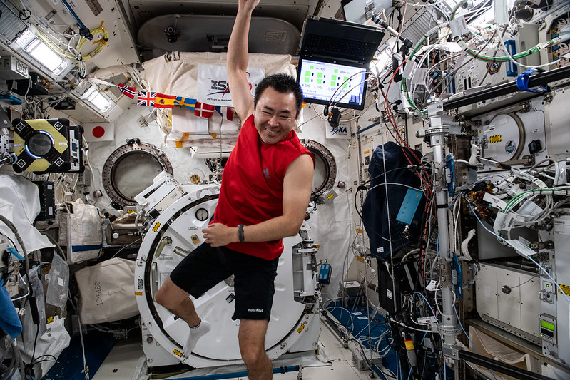 Astronaut Akihiko Hoshide of the Japan Aerospace Exploration Agency (JAXA) is pictured inside the Kibo laboratory module before beginning an exercise session.