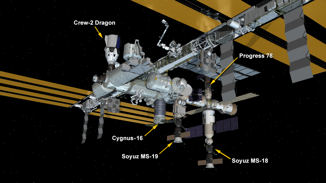 Five spaceships are parked at the space station including Northrop Grumman's Cygnus space freighter; the SpaceX Crew Dragon vehicle; and Russia's Soyuz MS-18 and MS-19 crew ships and ISS Progress 78 resupply ship.