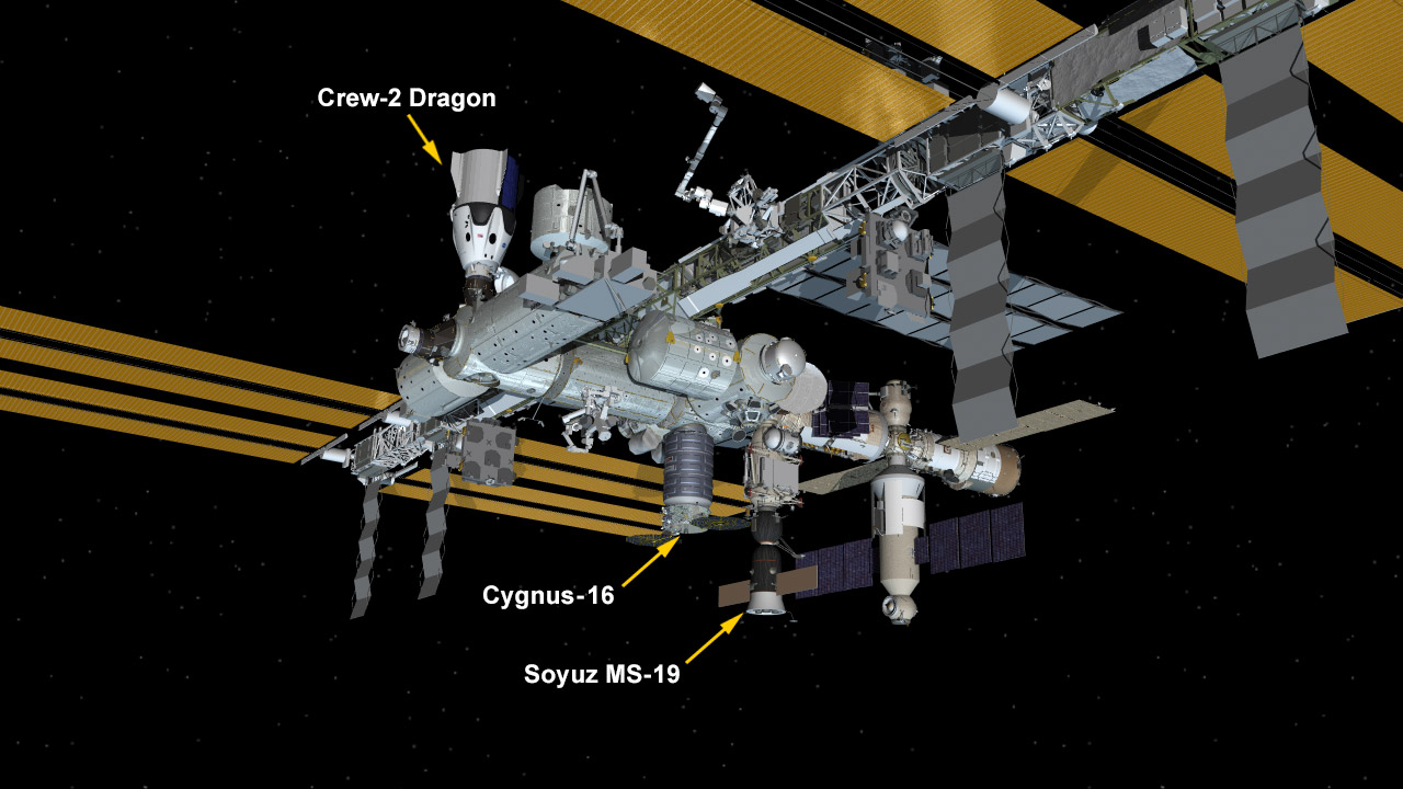 Oct. 20, 2021: International Space Station Configuration. Three spaceships are parked at the space station including Northrop Grumman's Cygnus space freighter; the SpaceX Crew Dragon vehicle; and Russia's Soyuz MS-19 crew ship.