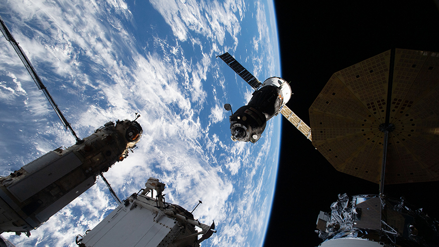 The Soyuz MS-18 crew ship relocates from the Rassvet module to the Nauka multipurpose laboratory module on Sept. 28, 2021. Credits: NASA