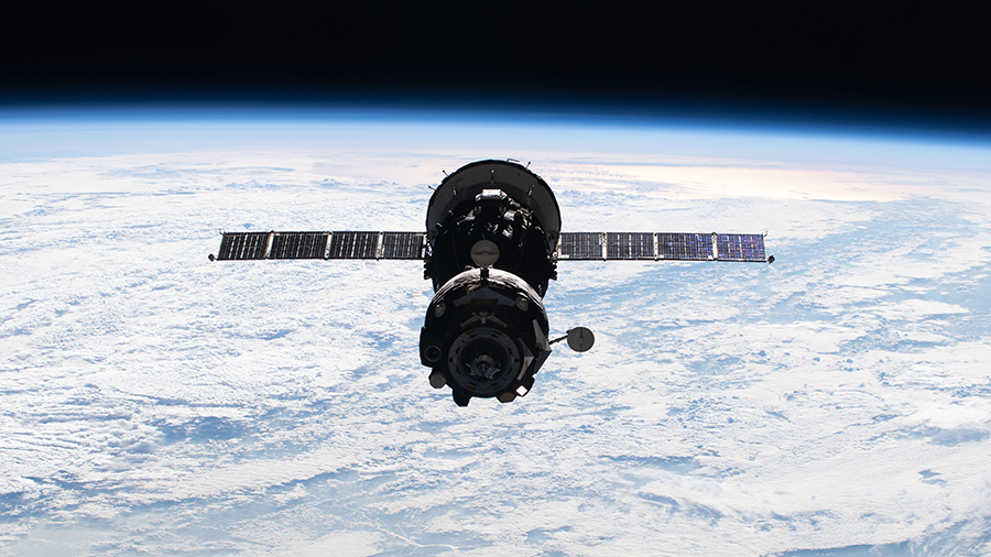 The Soyuz MS-18 crew ship is pictured relocating from the Rassvet module to the Nauka multipurpose laboratory module on Sept. 28, 2021.