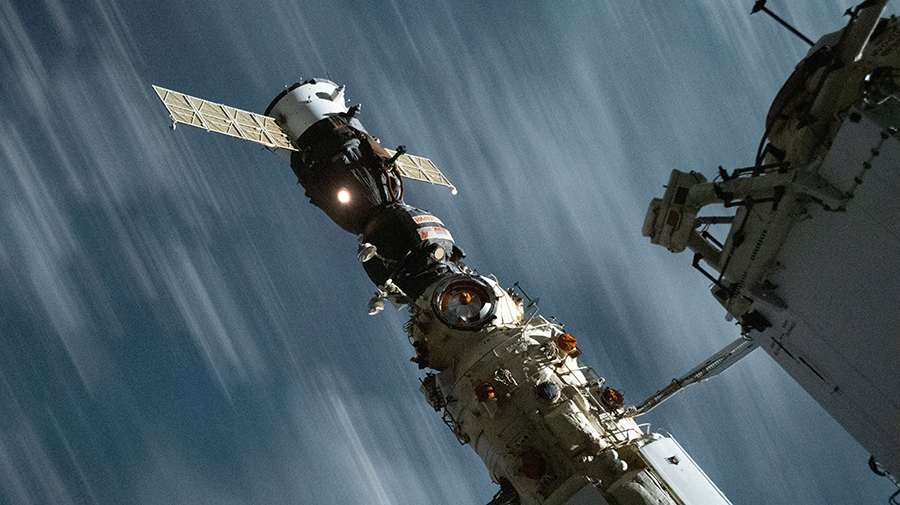 The Soyuz MS-18 crew ship is pictured docked to the Nauka multipurpose laboratory module.