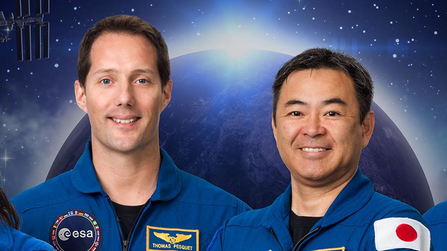 European astronaut Thomas Pesquet takes command of the space station from Japanese astronaut Akihiko Hoshide today.