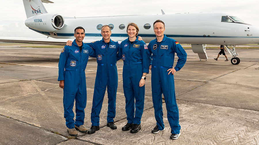 SpaceX Crew-3 astronauts (from left) Raja Chari, Thomas Marshburn, Kayla Barron and Matthias Maurer are pictured before departing Houston, Texas, for Kennedy Space Center in Florida.