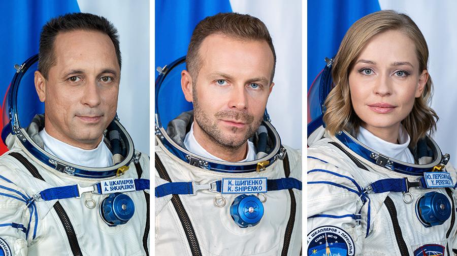 The Soyuz MS-19 crew with (from left) Roscosmos cosmonaut Anton Shkaplerov, producer Klim Shipenko and actress Yulia Peresild.